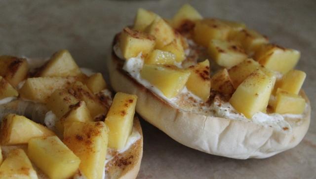 Peach and Cream Cheese Bagel