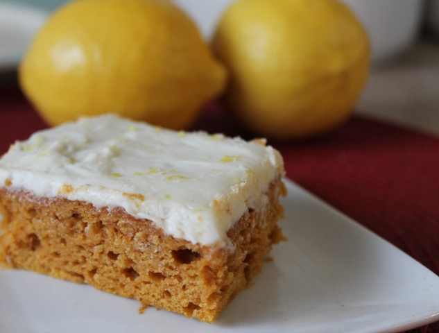 Pumpkin Bars with Lemon Cream Cheese Icing
