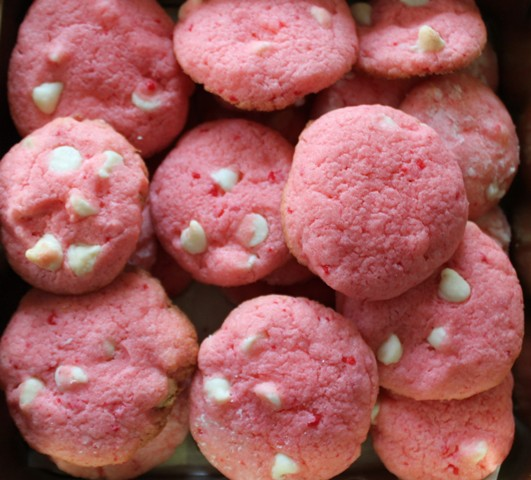 Strawberry Cookies with White Chocolate Chips 3
