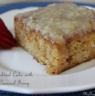 Fruit Cocktail Cake with Coconut Caramel Icing