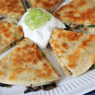 Buttery Mushroom and Jalapeno Quesadillas for One