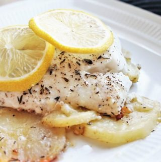 Lemon-Herb Halibut with Crispy Garlic Potatoes